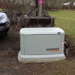 Mounted on a GenPad, the home standby generator was installed in a convenient spot.  This system was installed to keep the power on for their home office.