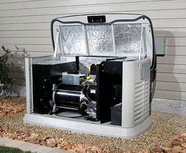 This is what the air cooled generator looks like.  As you see, the interior is lined with insulation to keep the noise down.  With the front panel easily removed, doing service on these generators is not as difficult as you may think.