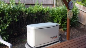 With a small backyard, this generator worked out to be next to the deck for this home in Corvallis.