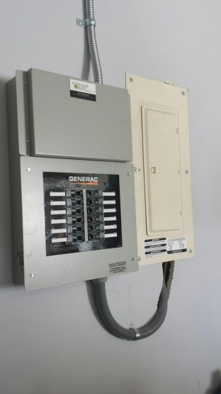 This prewired transfer switch allows the generator to be smaller and only energize circuits that the owner chooses.