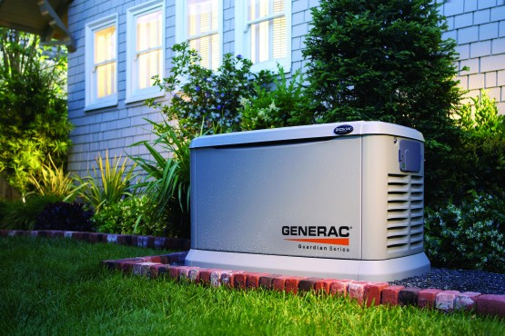 This undated photo provided by Generac shows a Guardian Series built-in generator available for homeowners. Although built-ins are more expensive and require professional installation, they turn on automatically in power outages. Portables are powered by gasoline and need to be manually started.  (AP Photo/Generac)