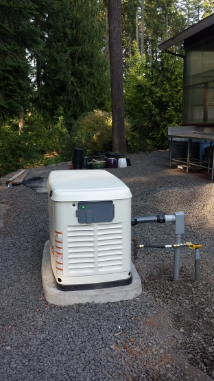 This 16 kW generator with power management modules was able to cover this home in Dexter.  R&D Propane did a nice job on connecting the gas.