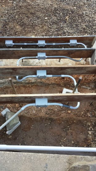 This is what step lights look like before concrete is poured.  Wires will be pulled to each box location after concrete.