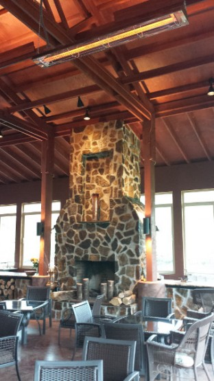 With different lighting options, the fireplace can display a variety of things in the cubby.