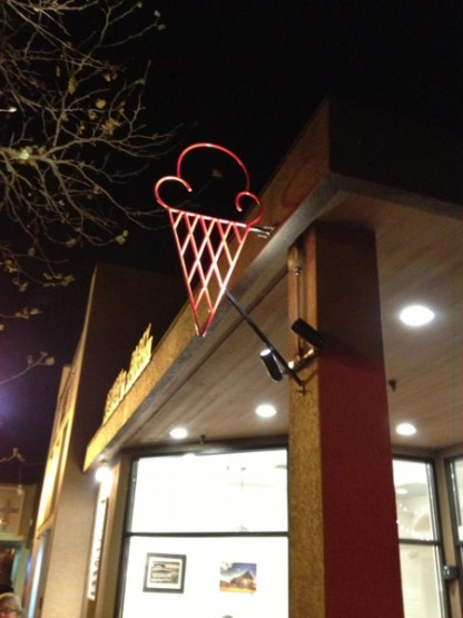 Red Wagon Creamery in downtown Eugene has some amazing ice cream flavors.  This cool metal cone was crafted by a local artist and the owner of Red Wagon Creamery wanted it to stand out at night.  We were able to accomplish this with a couple of LED spots that are controlled with a photocell and off with a timer.